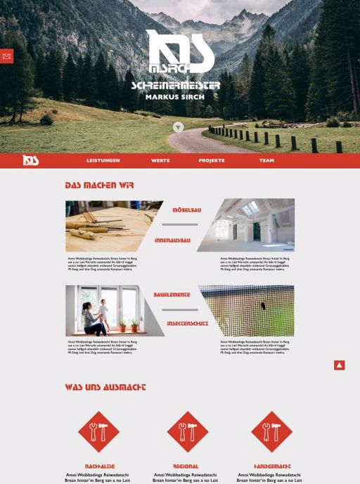 Advertising and product website for a local carpentry